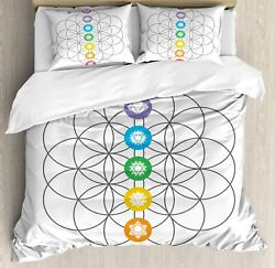 Ambesonne Geometry Duvet Cover Set Chakra Points In Vintage Concentric Rings Of