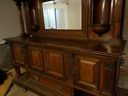 Large Quality Antique Carved Mahogany Maple And Co Hutch