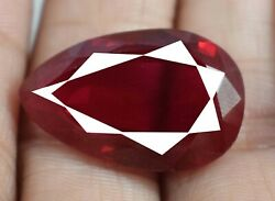 100 Natural Pear 31.50 Ct Burma Ruby Gemstone Certified A16525 New Yearand039s Offer