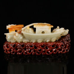 10.6 Fine Chinese 100 Natural Old Jade Handcarved People Boat Fish Statues