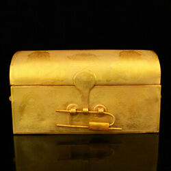 14.6 Chinese Old Antique Bronze 24k Gilt Handmade Exquisite Scriptures Boxes