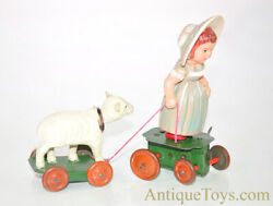 Vintage Ca. 1930's Occupied Japan Mary And Lamb Celluloid/plastic Windup Toy