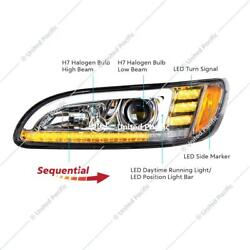 Peterbilt 386 387 Projection Headlight Chrome Lens, Led Sequential Turn Signal