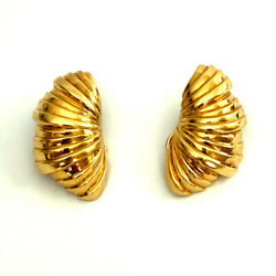 And Co 18k Yellow Gold Shell Earrings Vintage