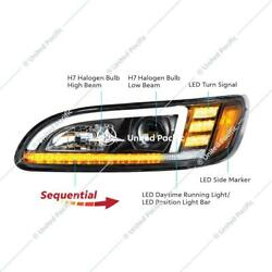 Peterbilt 386 387 Projection Headlight Blacked Out, Led Sequential Turn Signal