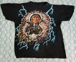 Vintage 90s American Thunder Indian Chief T Shirt Lightning All Over Print Small