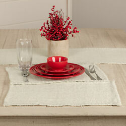 Vhc Brands Nowell Farmhouse Creme Silver Tabletop Rect Placemat Set Of 6 12x18