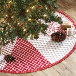 Vhc Brands Farmhouse 50 Tree Skirt Red Christmas Patchwork Cotton Holiday Decor