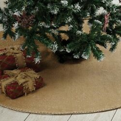 Vhc Brands Nowell Farmhouse Natural Silver Christmas Tree Skirt Cotton Woven 48