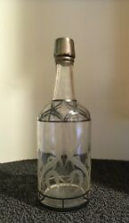 Antique Silver Metal Overlay And Etched Glass Liquor Whiskey Decanter Bottle