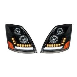 Blackout Led Headlight W/led Turn Signal And Position Light For 2003-2017 Volvo