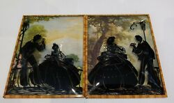 Vintage Convex Frame Reverse Painting On Glass Silhouette 2