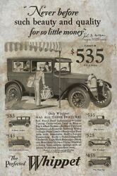 3 Willys Whippet Antique Cars Heavy Duty Usa Made Metal Autos Dealer Adv Sign