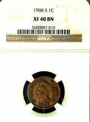 1908-s 1c Xf40bn Ngc -indian Head Cent