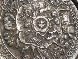 Rare Burmese Antique Ca 1890 Solid Sterling Repousse 12 Story Platter