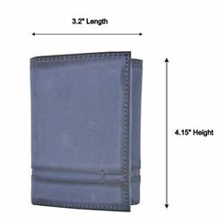 Trifold Wallet with RFID For Men Genuine Leather Men#x27;s Casual amp; Professional Nav $14.99