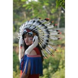 White Polka Red Headdress Fur Apache Small Warbonnet Indian Native American