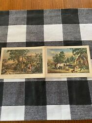 2 Original Currier And Ives Lithographs