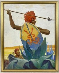 Original Charles Hargens African Tribal Warrior Oil Painting Board, Illustration