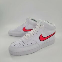 Nike Court Vision Mid White Pink Leather Shoes Cd5436-102 Womens Size 10.5 New