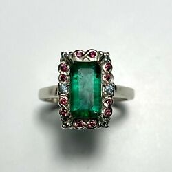 Natural Colombian Emerald 925 Silver 9ct 14k 18k 14ct 375 Gold Platinum Ring