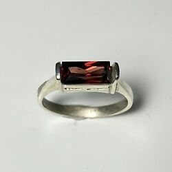 2cts Natural Dark Red Zircon 925 Sterling Silver / Gold Engagement Ring