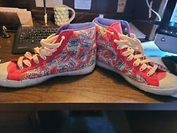 Vtg 70s Budweiser All Over Print Shoes 9 King Beers High Top Sneakers Skate