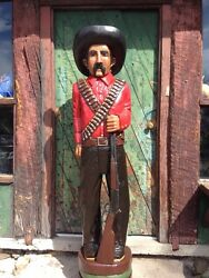 John Gallagher Carved Wooden Bandito 6 Ft.tall Cigar Store Indian Statue