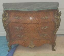 French Painted Marble Top Dresser / Chest Of Drawers With Brass Figural Accent