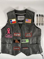 Motorcycle Leather Vest Texas 2xl With Extenders Chapter Free Same Day Shipping