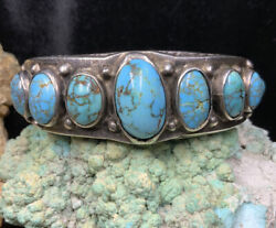 Old Pawn 1920andrsquos Native American Sterling Silver And Turquoise Bracelet 83.5g