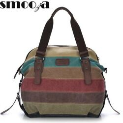 2020 Womens Handbag SMOOZA Canvas Totes Striped $32.45