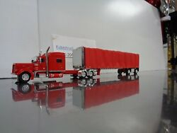 Red Peterbilt 379 70 W/red Curtain Side Trailer Dcp 60-0526