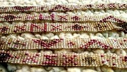 Vtg Glass Crocheted Seed Bead Strands 52 Total Gray Pink Native Design 1/2 Wid