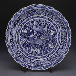 25.1 Antique Old Chinese Porcelain Blue White Kylin Phoenix Plate