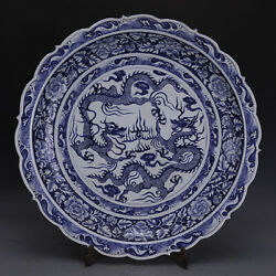 25 Antique Old Chinese Porcelain Blue White Double Dragon Peony Plate