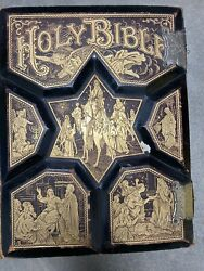 Rare Bible George V Jones Family Pictorial King James Leather Holy Vintage