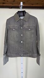 Helmut Lang Archive Vintage Heavy Denim Gray Roll Cuff Jacket 40 Italy