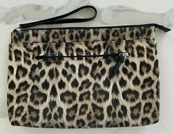 Leopard print clutch cosmetic travel bag makeup toiletry pouch wristlet New $12.85
