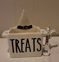 Mud Pie Witch Hat Caddy Set Treats Sauces Dish With Boo Spoon Halloween Ceramic