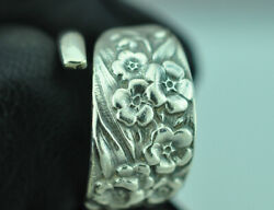 Beautiful 925 Sterling Silver Forget-me-not Flower Spoon Ring