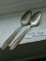 National Silver Seb Four Hammered Silverplate Flatware 2 Teaspoons