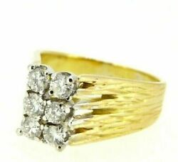 Gold Ring Solid 18k Vintage Italian Yearsand039 70 Natural Diamonds 060 Ct
