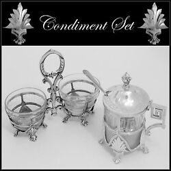 Gorgeous French Sterling Silver Baccarat Crystal Open Salt Caddy Mustard Pot