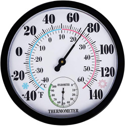 Quan Indoor Outdoor Weather Thermometer Hygrometer, Garden Wall Thermometer For