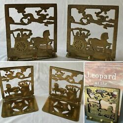 Pair Vintage Solid Brass Horse Drawn Carriage Dragon Hinged Collapsible Bookends