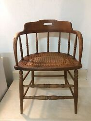 Antique Firehouse Windsor Chair Curved Back Cane Seat Solid Gorgeous Please Read