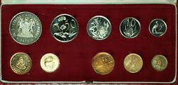 1979 South Africa 10 Coin Proof Set W/ Gold And Silver Rands In Mint Box