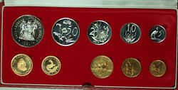 1981 South Africa 10 Coin Proof Set W/ Gold And Silver Rands In Mint Box
