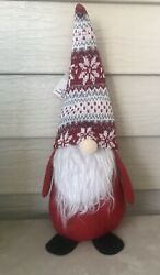New Christmas Gnome Stuffed Decoration 14inches Bearded Red Hat